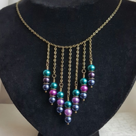 Beautiful Peacock Passion Dark Tone Necklace