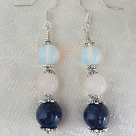 Beautiful Endless Love 3 Gemstone Bead Earrings