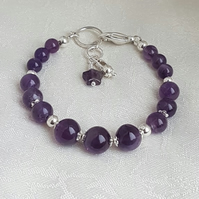 Gorgeous Gem of Fire Amethyst and Silver Bracelet