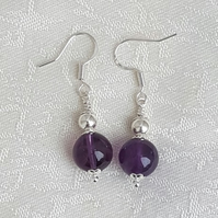 Gorgeous Gem of Fire Amethyst and Silver Bead Earrings