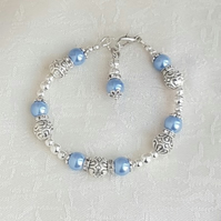 Gorgeous Light Blue Magnetic Haematite and Fancy Bead Bracelet.