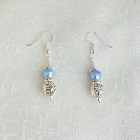 Gorgeous Light Blue Magnetic Haematite and Fancy Bead Earrings.