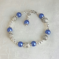 Gorgeous Royal Blue Magnetic Haematite and Fancy Bead Bracelet