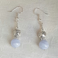 Gorgeous Blue Lace Agate and Fancy Bead Earrings