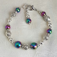 Gorgeous Rainbow Haematite and Fancy Bead Bracelet