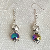 Gorgeous Rainbow Haematite and Fancy Bead Earrings