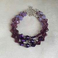 Gorgeous Purple Glass Triple Strand Cuff Bracelet