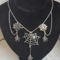 Spider Web charms dangly Necklace