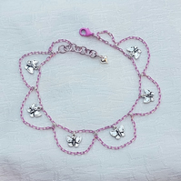Gorgeous Pink Chain Anklet with Butterfly Charms.