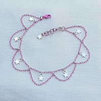 Gorgeous Pink Chain Anklet with Star Charms.