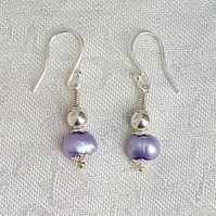 Gorgeous Lilac Pearl and Silver bead Earrings - Sterling Silver Ear Wires