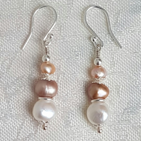 Fabulous Freshwater Pearl Earrings - Design 2 - Sterling Silver Ear Wires.