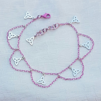 Gorgeous Pink Chain Anklet with Triquetra (Trinity Knot) Charms.