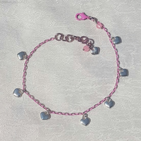 Gorgeous Pink Chain Anklet with Heart Charms.