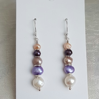 Fabulous Freshwater Pearl Earrings - Sterling Silver Ear wires.