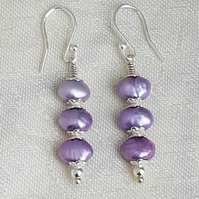 Gorgeous Lilac Freshwater Pearl Earrings - Sterling Silver Ear Wires