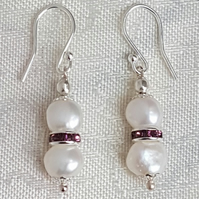 Gorgeous White Freshwater Pearl Earrings - Sterling Silver Ear Wires.
