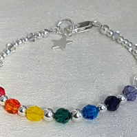 Gorgeous Rainbow Swarovski Crystal and Sterling Silver Bracelet