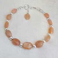 Gorgeous Peach Moonstone and Sterling Silver Bracelet.