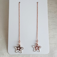 Gorgeous Rose Gold Plated Vermeil Star Threader Earrings with Silver Stars