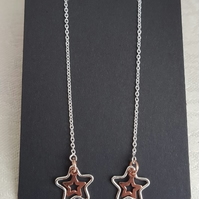 Gorgeous Sterling Silver Star charm Threader Earrings with RGPV stars