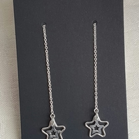 Gorgeous Sterling Silver Star Charm Ear threader Earrings