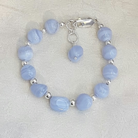 Gorgeous Blue Lace Agate and Sterling Silver Bracelet.