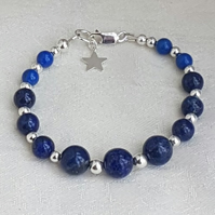Gorgeous Lapis Lazuli and Sterling Silver Bracelet