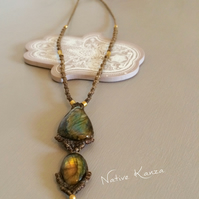 Hand made macrame necklace with Labradorite stone