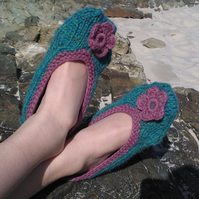 Knitting pattern for ladies ballet slippers - digital pattern ckc009