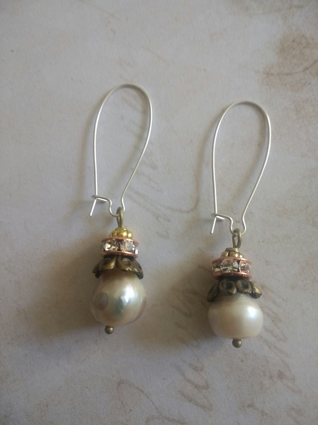 Large rustic Pearl vintage earrings