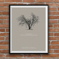 Personalised Couples Print, Chasing Cars, Snow Patrol, Tree, Love, A4 print