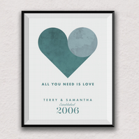 All you need is love, Personalised Couples Print, The Beatles, Heart, A4 print