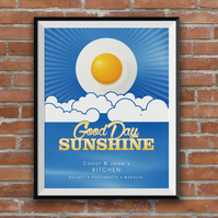 Personalised Family Print, Good Day Sunshine, Eggs, A4 print, Kitchen Decor