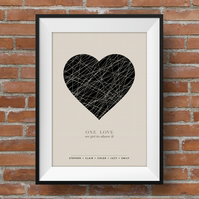Personalised Family Love, Personalised Couples Love Print, Heart, A4 print, U2