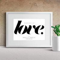 Personalised Couples Love Print, Personalised Family Love,  Typography, A4 print