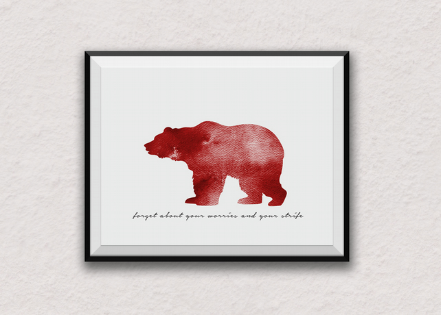 Red Bear, Bear Necessities, A4 Print, Bear, Nature, Bedroom