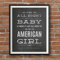 Tom Petty, American Girl, Lyric Inspired Print, Blackboard Effect Art, A4
