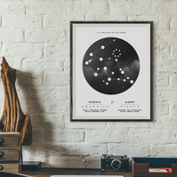 Star Sign, Couple personalised print, Zodiac, Astrology, Constellation, A4