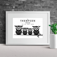 Owl Family Personalised Print, Family Tree, Personalised Family Print, A4