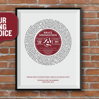 First Dance Song, Record Lyric Print, Vinyl Record Print, Favourite Song, A4