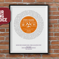 Record Lyric Print, First Dance Song, Vinyl Record Print, Favourite Song, A4