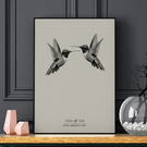 Couples Personalised Print, Hummingbird Personalised print, Love, A4 print