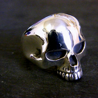 Heavy Solid Sterling Silver Skull Ring Keith Richards Rock & Roll Style
