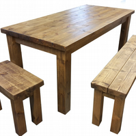 6' X 3' Rustic wooden farmhouse dining table with benches, Medium oak finish