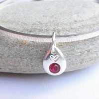 Square sterling Silver Bangle & Birthstone  Can be Personalised Initial or Heart