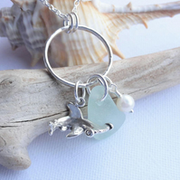 Scottish Sea Glass and Sterling Silver Hammerhead Shark Necklace - Scotland