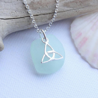 Triquetra Trinity Trefoil Knot Sterling Silver and Scottish Sea Glass Necklace