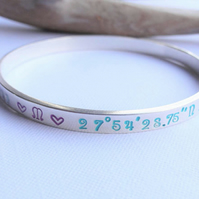 Phrase Custom Text Silver Bangle - Lyrics  Names  Personalised  Mothers Day Gift