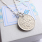 Birthday, Wedding Necklace - Sixpence and Birthstone Sterling Silver Necklace